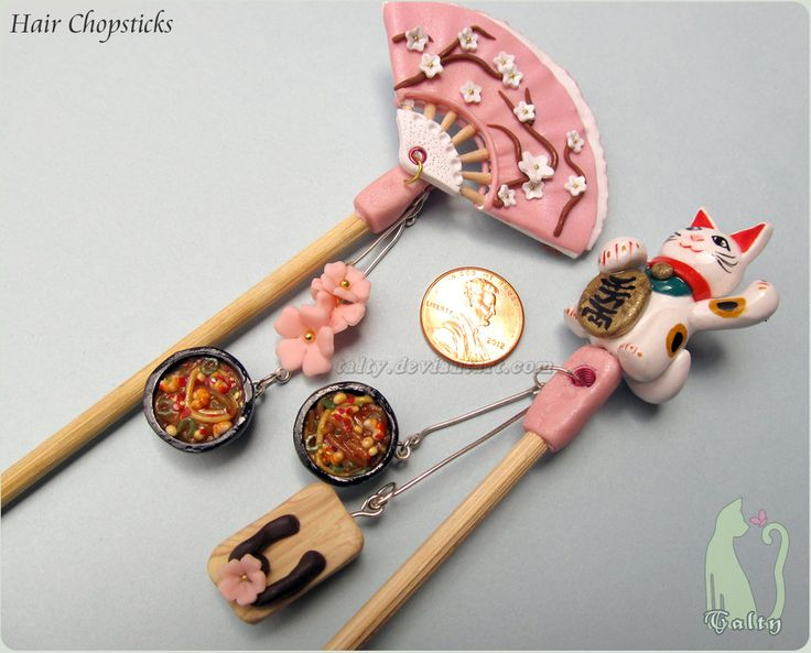polymer Clay ideas | Polymer Clay and Bamboo Hair Chopsticks by Talty on deviantART