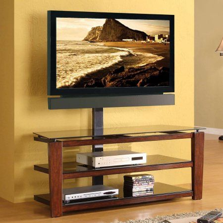 Whalen Swivel 3-in-1 TV Stand for TVs up to 60 inch, Brown Cherry Finish