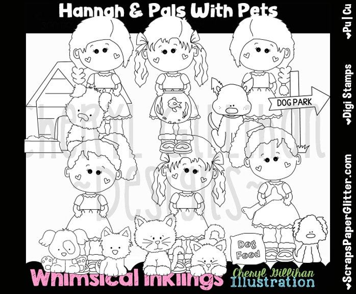 Hannah Pals Pets Digital Stamps, Black and White Image, Commercial Use, Instant Download, Line Art, Dog, Cat, BIrd, Fish, Kids, Child by ResellerClipArt on Etsy