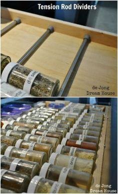 Spice Drawer Dividers Use tension rods to divide any drawer