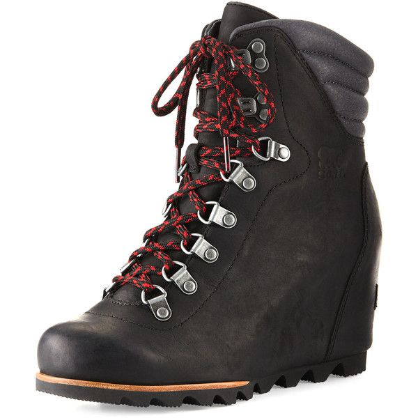 Sorel Conquest& Wedge Hiker Boot (370 CAD) ❤ liked on Polyvore featuring shoes, boots, black, wedge shoes, black boots, leather boots, waterproof leather boots and black lace up boots