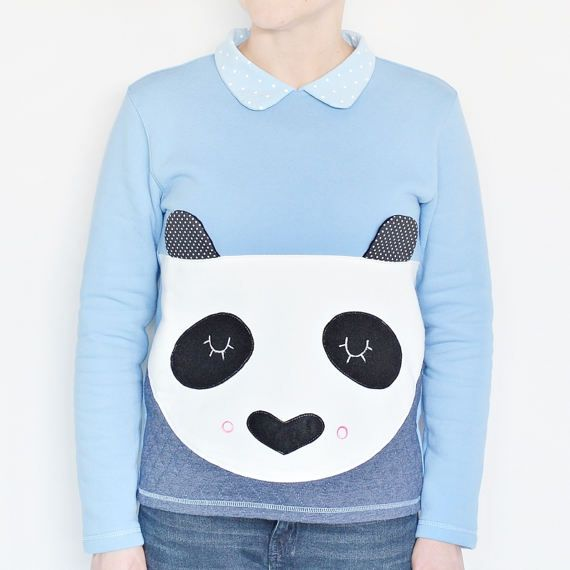 Panda t-shirt for kids blue animal sweetshirt t-shirt  DESIGN BY LADY STUMP, hnadmade in Poland  #animal sweetshirt, #t-shirt, #wolf, #for kids, #dots, #for girl, #girl, #handmade, #kids, #gift, #sweatshirt #ladystump