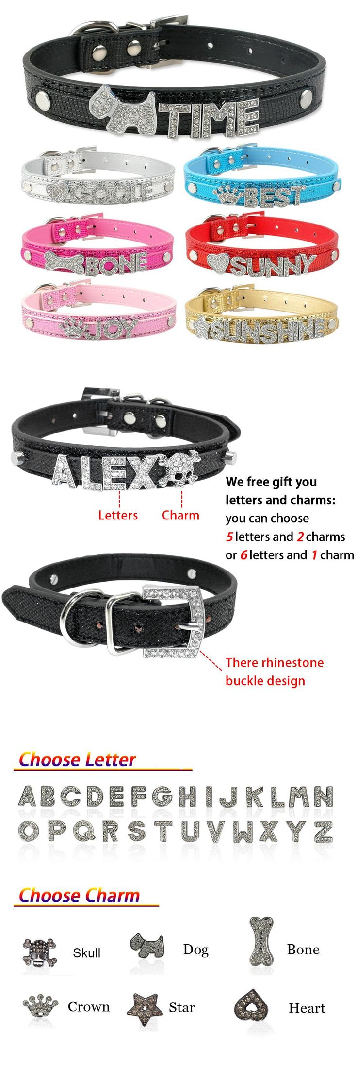 [Visit to Buy]  Personalized Dog Collar Leather Diy Name Puppy Cat Collar with 10MM Rhinestone Letters Charms XS S M L #Advertisement