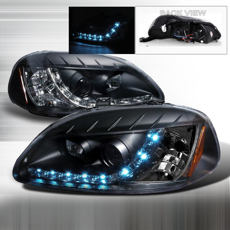 96-98 Honda Civic Black Projector Headlights