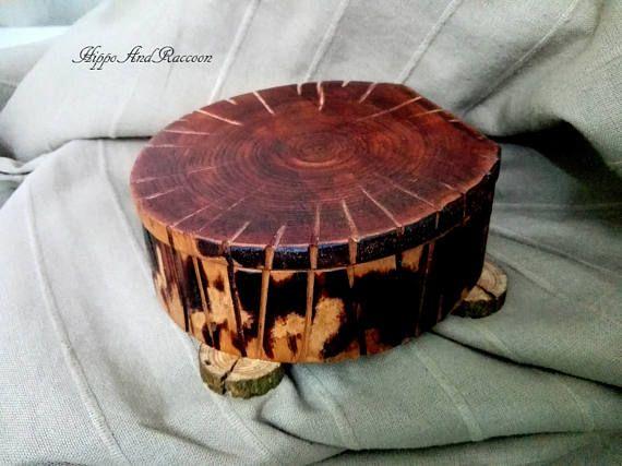 Wood log keepsake box Large jewelry box Rustic log ring box