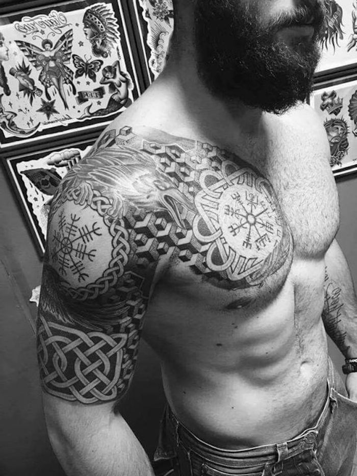 viking tattoo, brust, unterarm, tötowieren, mann mit langem bart