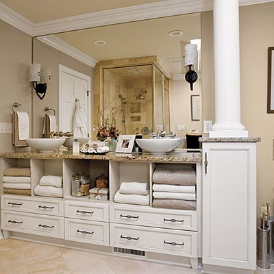 726 best dreamy baths powder rooms images on pinterest for Long bathroom cabinets
