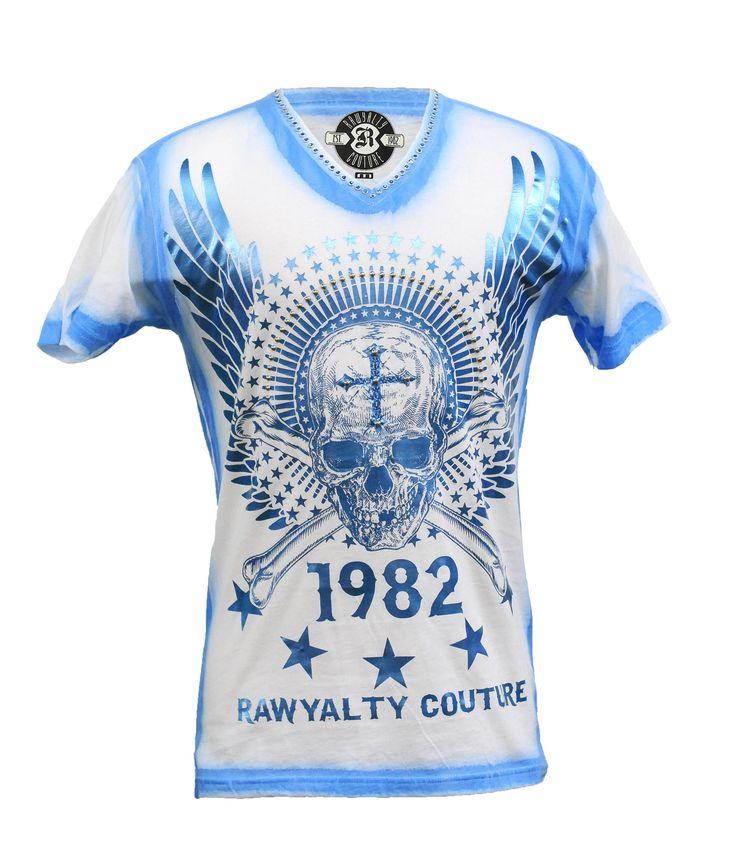 Rawyalty Men's Blue Wings Skull Bling Stud Tee White   t ...