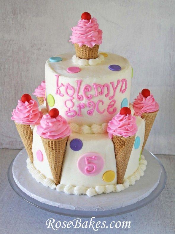 Ice Cream Cones Birthday Cake | http://rosebakes.com/ice-cream-cones-birthday-cake-polka-dots-cherries/