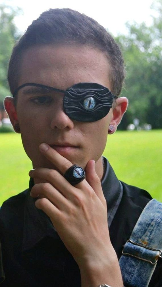 Dragon eye eye patch black leather. Snake eye patch. Blue eye leather eyepatch. Pirate eyepatch. Halloween eye patch.