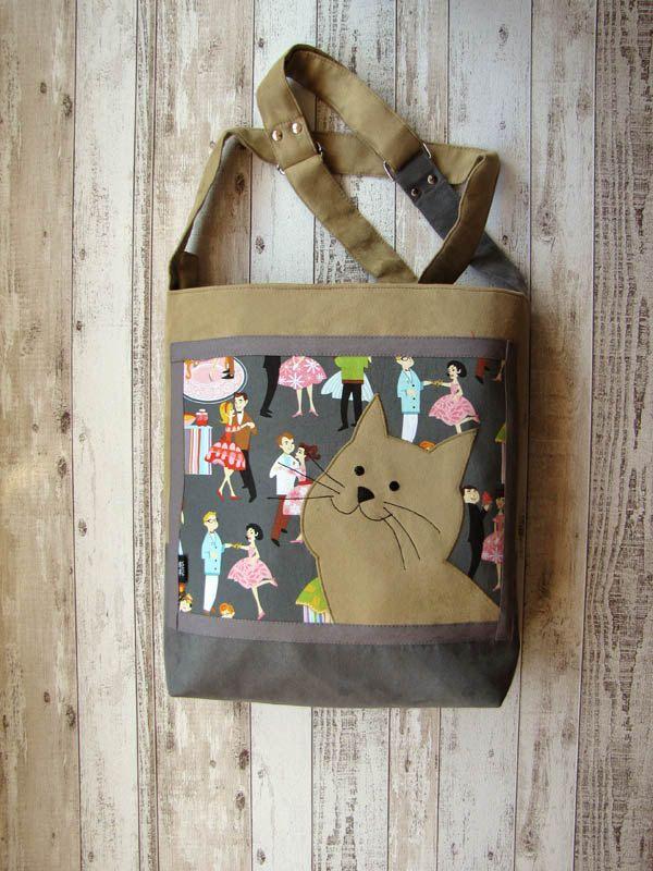 Cat Lover Bag with Zipper, Messenger Bag, Adjustable Strap, Handbag, Crossbody Bag, OOAK, Ready to Ship, Gift for Cat Lovers, Shoulder Bag by ifONA on Etsy
