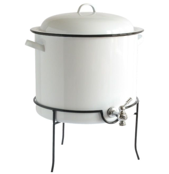 The White Enamelware Drink Dispenser is the perfect addition to entertaining family and friends indoors or outdoors. Feel free to fill it with either hot or cold beverages. The spigot is made of st...