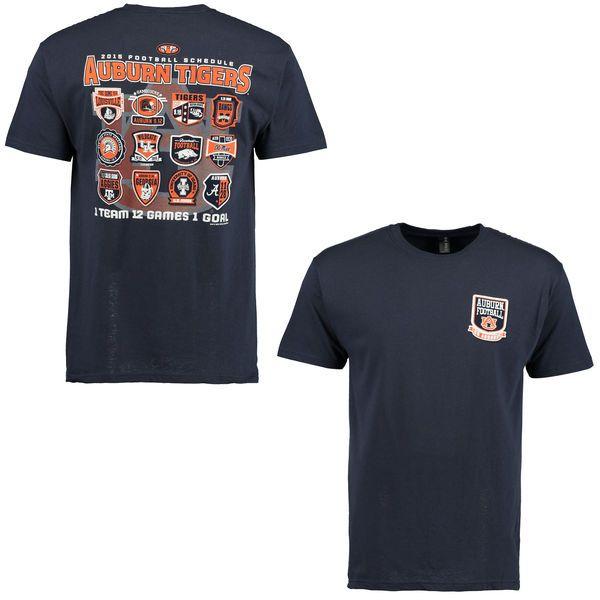 Auburn Tigers 2015 Football Schedule Patch T-Shirt - Navy Blue - $14.99
