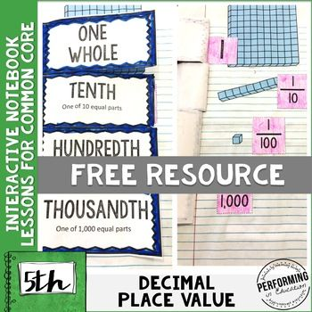 FREE 5th Grade Math Interactive Notebook Decimal Place Value