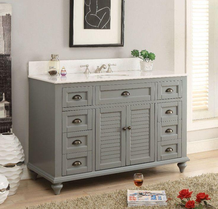 "49"" Cottage Style vanity, Grey Glennville Bathroom sink Vanity Model -GD-28329CK #BentonCollection #Transitional"