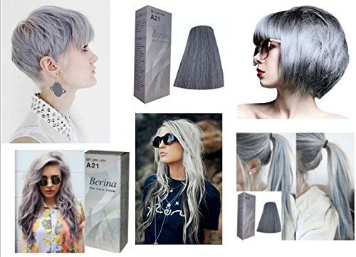 Amazon.com : Permanent Grey Hair Dye Color Cream Berina No. A21 Light Grey Color New in Box Free Gloves : Beauty