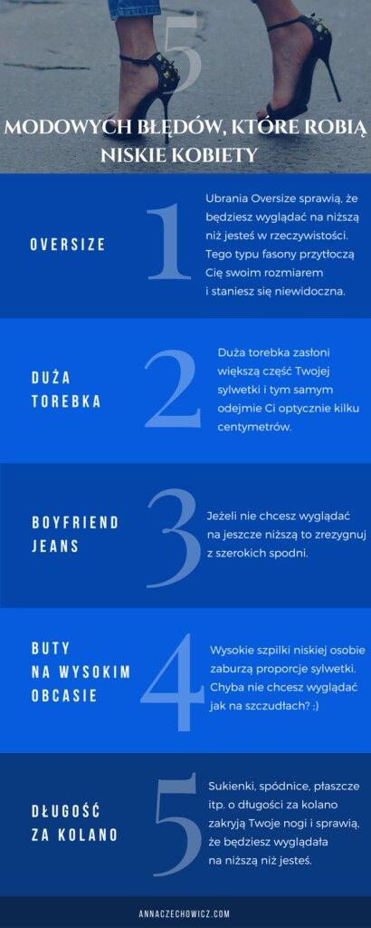 5 modowych błędów, które robią niskie kobiety.  annaczechowicz.com
