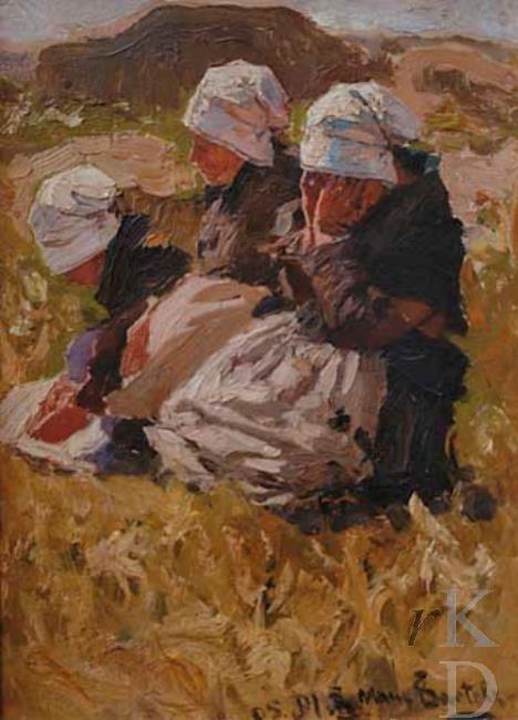 Hans von Bartels Uitrustende Bretonse vrouwen, 1905 Penmarc'h
