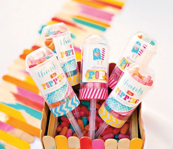 About to POP Popsicle Baby Shower Theme...love these favors out of push pop containers