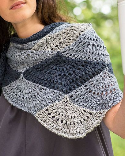 """Free Knitting Pattern for Ostro Shawl - The Ostro Shawl is knit in three colors using a modular construction. Each """"shell"""" is knit individually, but the following shells are attached as you go, so there is minimal finishing. Designed by the Berroco Design Team"""
