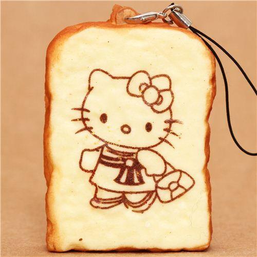 Hello Kitty cat toast bread squishy cellphone charm
