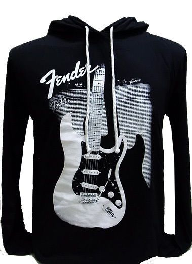 Fender Guitar Cool Slim Fit Apparel Pullover Black Hoodie