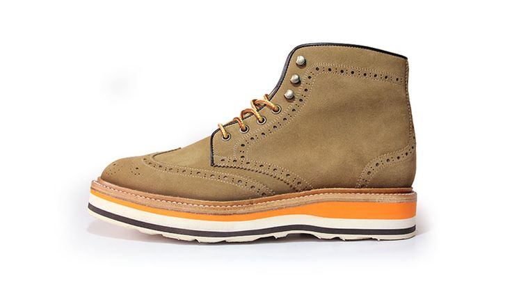 wingtip boots+layered sole_khaki suede