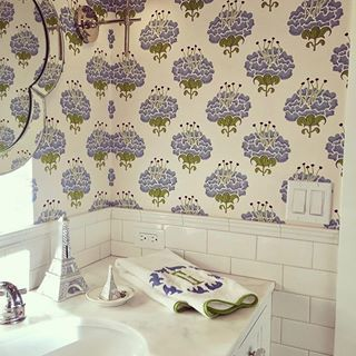 Wallpaper Wednesday: How lovely is the darling wallpaper in our Santa Barbara client's sweet little girl's bathroom? #palomacontrerasdesign #interiordesign #interiors #bathroomdesign #wallpaper #wallpaperwednesday #nevertooyoungforgooddesign