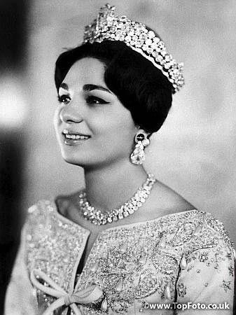 Farah Diba, empress of Iran 1959-1979, in her wedding dress and diadem, 1959......http://www.pinterest.com/madamepiggymick/arab-royalty-iran/