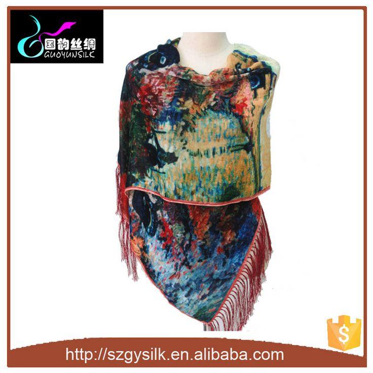 Новые Цифровые Печатные Женщины Бархат Шаль-изображение-Шёлковые шарфы-ID…