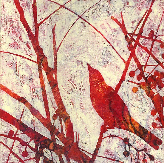 Karyn Fendley. Red bird. Want to have a go at something like this. Coloured and patterned paper background, image blocked out and then white colour over top mmmm might work!