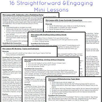 This 60 page unit includes 16 mini lessons, 16 videos, 9 charts, 5 writing process posters, 9 graphic organizers, 16 writing samples to use during mini lessons, 1 student checklists and 1 grading rubric. UPDATED 12/2017 to Include: Clickable Table of Contents