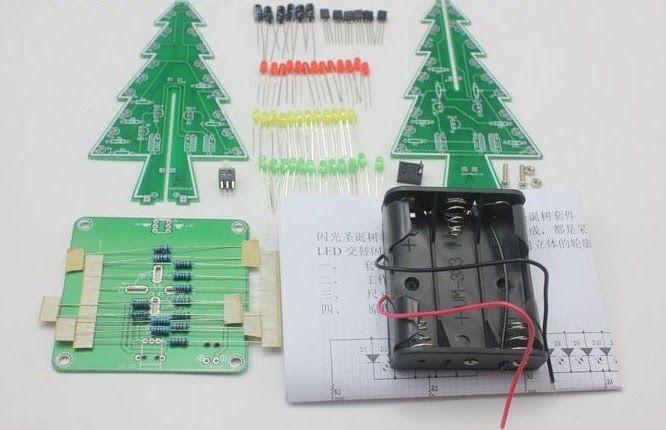 Discount Three Dimensional 3d Christmas Tree Led Diy Kit Red Green Yellow Led Flash Circuit Kit Electronic Fun Suite Led Diy 3d Christmas Tree Diy Kits