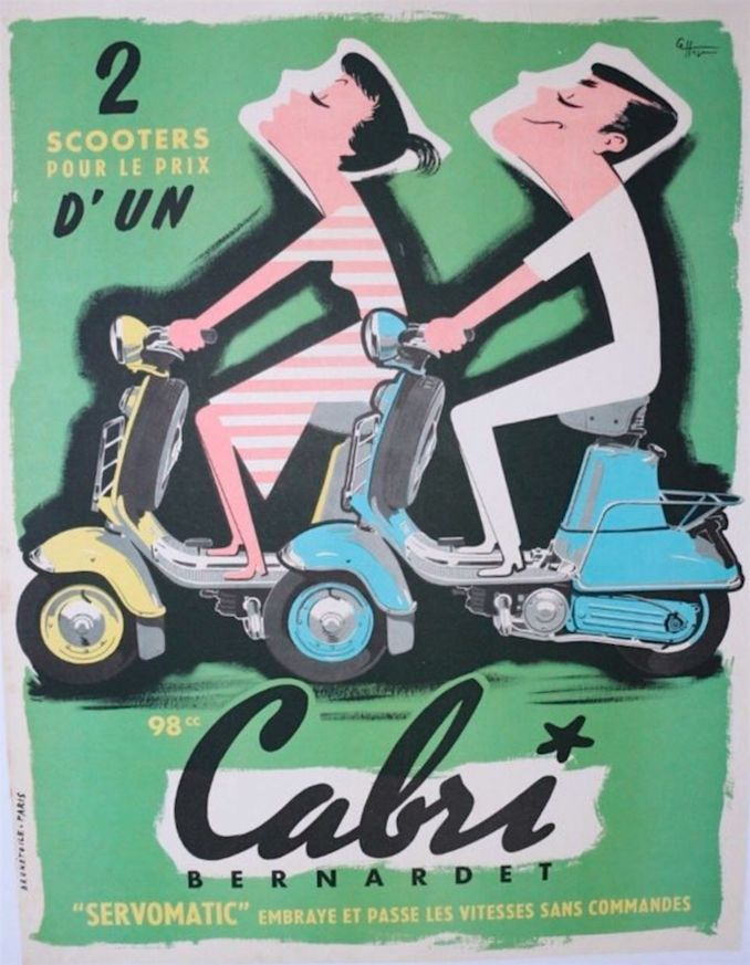 "French poster, illegible signature, 1954, Cabri Bernardet Servomatic, ""2 for the price of one"", Paris. #Scooter"