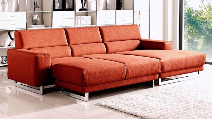 Fabric Diva Sectional Sofa with Sleeper Ottoman   Zuri Furniture #ZuriFurniture