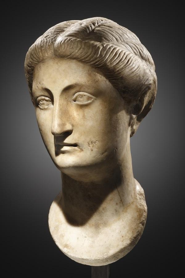 Portrait of a Roman matron, marble, 2nd quarter of 2nd cent. CE.