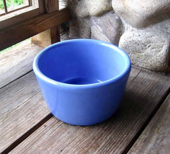 Hall Pottery Bowl Crock Dog Dish Cottage Chic Periwinkle