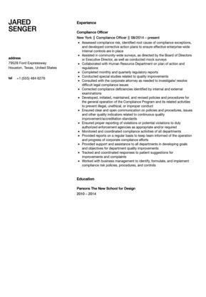 Compliance Officer Resume Sample