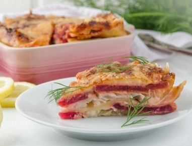 Fischlasagne+mit+Roten+Rüben+aus+der+Heißluftfritteuse