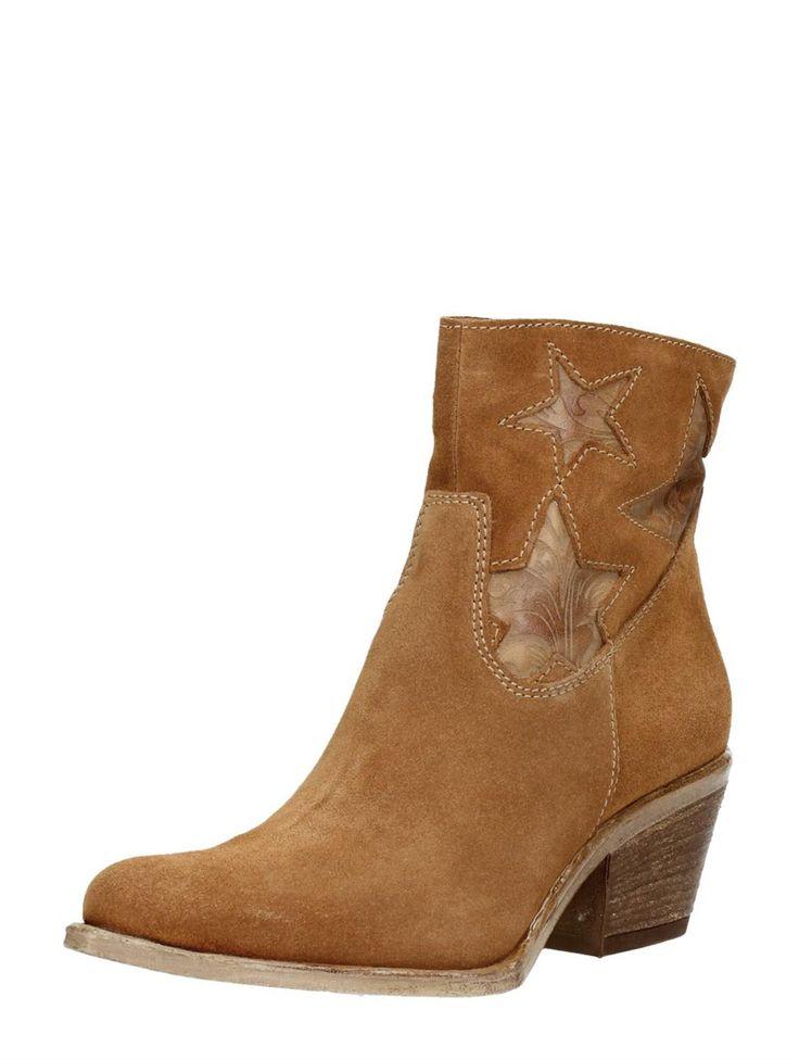 MJUS western laarzen met decoratieve sterren - cognac