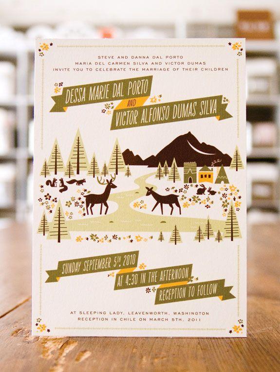 woodland wedding invitations. illustrated invites