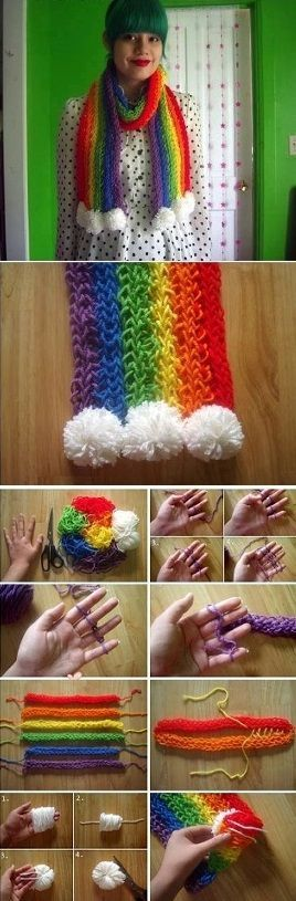 Finger Knit Rainbow Scarf No Tools Required Video Tutorial