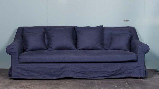 Divano lino blu - Blue linen  sofa http://www.griffegenova.com/Griffe_Home/Divani_pint_new.html