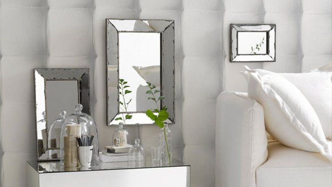 papier peint effet miroir blanc papier peint damasse. Black Bedroom Furniture Sets. Home Design Ideas