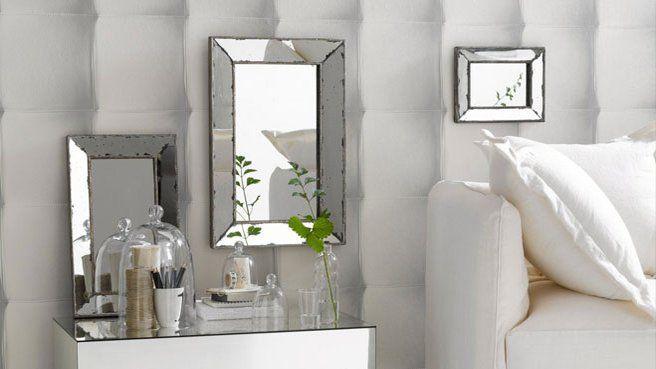 papier peint effet miroir blanc | Papier peint damasse noir , Papier peint princesse disney - Renovation ...
