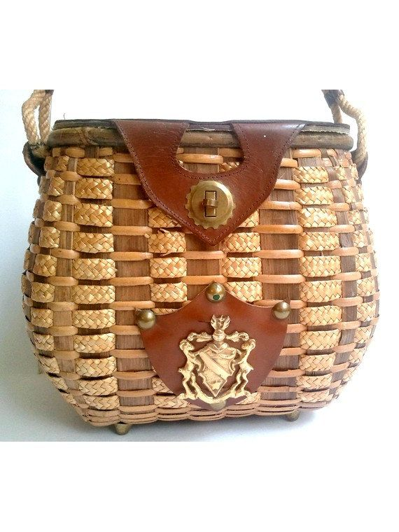 c.1950s-1960s french basket.  Woven straw and leather