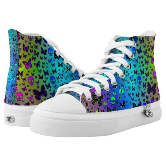 Colorful Skulls and Butterflies Fashion High Tops