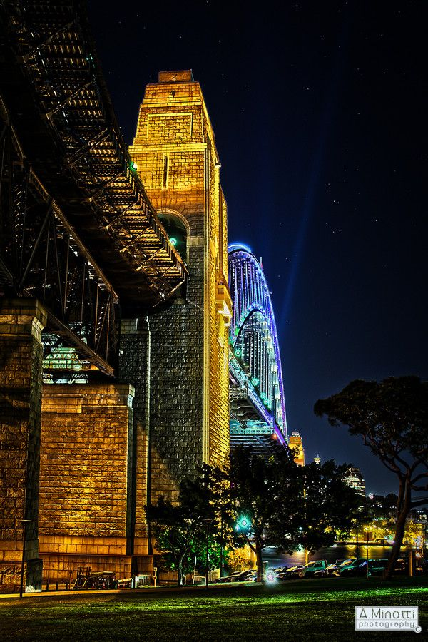 Light dances across the Sydney Harbour Bridge, one of Australia's iconic landmarks and a popular tourist destination.