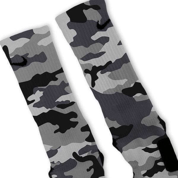 Combat Grey Snow Camo Custom Nike Elite Socks – Fresh Elites