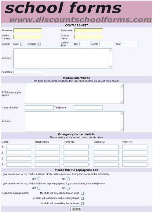 Sample Of Admission Form School Forms   EForms And Online Surveys For  Schools  Admission Forms Of Schools